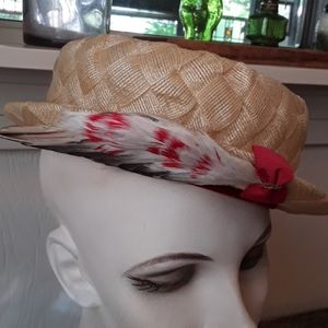 Vintage Accessories - Vintage Faux Straw Hat with Feathers